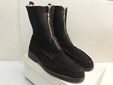JOHN VARVATOS BROWN SUEDE FRONT ZIP SHEARLING BOOTS HANDMADE IN ITALY SIZE 12
