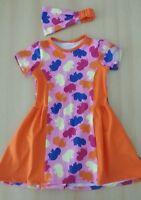 Mädchen Sommer Set*Kleid*Haarband*Gr 128/134*Orange*Hippo*Dawanda*Neu*Unikat
