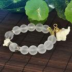 Elephant Charms 10mm Crystal Beads Beaded Women Tibetan Silver Bracelet Jewelry