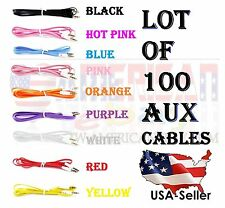 USA RESALE WHOLESALE LOT OF 100 CABLES AUX AUXILIARY CORD Stereo Audio iPod CAR