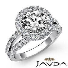 Split Shank Round Diamond Engagement Halo Ring GIA F VS2 18k White Gold 3.06ct