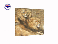 ANIMAL OIL PAINTING ON CANVAS OF 2 AFRICAN LIONS
