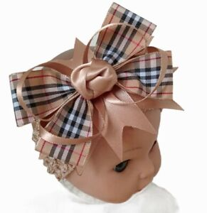 Headband Beige Tartan Ribbon Hair Bow Baby New Born UK Seller 🇬🇧