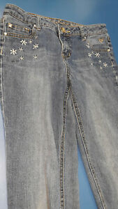 Justice Premium Jeans with flower embroidery size 16R