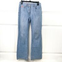 Faconnable Women's High Rise Wide Flare Leg Women's Jeans Size 2 Light Wash