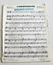 Partition sheet music MORT SHUMAN : L'emmerdeuse * 70's PROMO Philippe ADLER