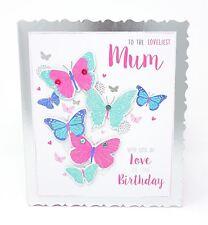 Loveliest MAMAN anniversaire carte de voeux Papillons Rose Blanc Argent 18 x