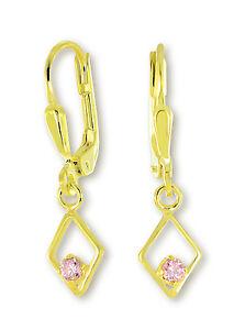 VASCAYA Damen Ohrhänger Ohrring Zirkonia rosa Rhombus Gold 333 Geschenk