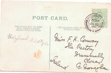 HOLYHEAD 1908  DOUBLE CIRCLE POSTMARK  To Miss F K Conway Postcard CARDIFF
