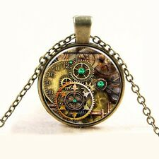 New Bronze Metal Punk Gear Dial Plate Steampunk Time Gem Glass Cabochon Pendant