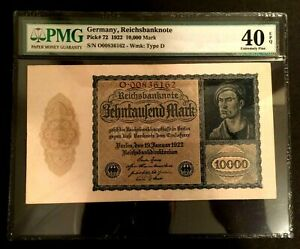Antique Rare Historical 10000 German Mark 1922 - Uncirculated PMG Certified EPQ