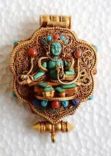 Gold Plated Silver Gau Ghau Tibetan Shrine Prayer Box Pendant from Patan, Nepal
