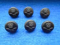 6 X ERII RAF, ROYAL AIR FORCE 17MM BLACK COMPOSITION BUTTONS
