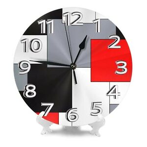 AMZBSR MySty Geometric Grey Black and Red Grid Stripe Wall Clock, Silent Non-...