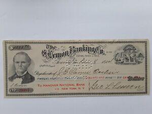The S. Lemon Banking Co. Bank Check to Hanover National Bank New York $1,228.96