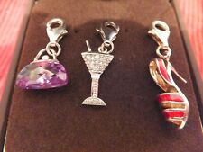 Set of 3 925 Silver Clip on Charms