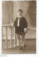 BM641 Carte Photo vintage card RPPC Enfant mode fashion raquette tennis