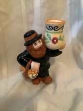 Ceramic Bearded Man With Basket Candle Holder 6� Tall Peasant Cute Decor