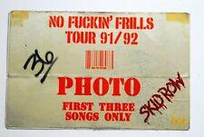 SKID ROW 1991 NO FRILLS CONCERT TOUR PHOTO PASS EUROPE 1991 SEBASTIAN BACH
