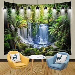 Rainforest Tapestry, Green Tropical Plants and Waterfall Tapestries 90W X 70L In