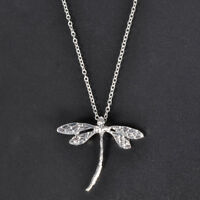 Fashion Dragonfly Animal 925 Silver Necklace Pendant With Chain Jewelry Gift