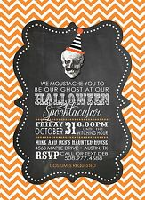 Orange Chevron Halloween Party Invitations- Personalized, Printed with Envelopes