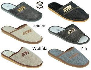 """Herren """"BOSS"""" Hausschuhe aus ECHT LEDER, Filz, Leinen Pantoffeln Latschen 40-50"""