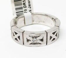14K White Gold Sand Blasted Diamond Men's Ring, Dia 0.07 CT