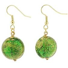 GlassOfVenice Murano Glass Ca D'Oro Earrings - Emerald Green