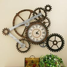 Giant Wall Clock Extra Large Industrial Decor Gear Sculpture Workshop S