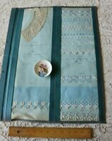 26 Original Antique Swiss Blue Emb Trim & Lace Samples~2 Sided Page~Dolls,Design
