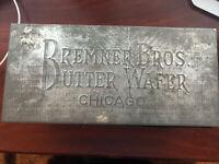 "VINTAGE BREMNER BROTHERS BUTTER WAFER TIN CHICAGO 4""X9""X4.5"""