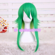 Vocaloid GUMI Long Anime Fluffy green yellow Synthetic Cosplay Wig+ free wig cap
