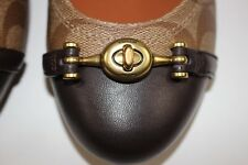 "NIB COACH Size 7.5 Women's Khaki ""C"" Mahogany Matte Calf Leather LEILA Flat"