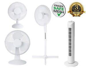 Pedestal Air Cooling Fan 3 Speed Home Office Desk Free Standing Oscillating Fans