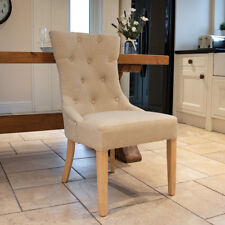 Wido 2x LINEN FABRIC DINING CHAIRS SEAT KITCHEN HIGH BACK LIVING ROOM CREAM/GREY
