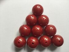 Red And Gold Angel Print 20mm Acrylic Beads - Pack Of 10