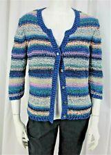 J. Jill sz M Blue Pink Cream Stripe Cotton Blend 3/4 Sl Button Front Cardigan