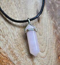 Natural Rose Quartz Pendulum Prism Choker Pendant Necklace, Reiki Healing  Gift