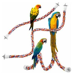 Pet Bird Parrot Cotton Rope Perches Cage Accessories Comfy Perch Bungee Fun Toys