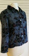 Chico's Cotton Stretch Jean Jacket Top Floral Velvet Embellishment SZ 3