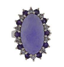 14k Gold Lavender Jade Amethyst Diamond Ring
