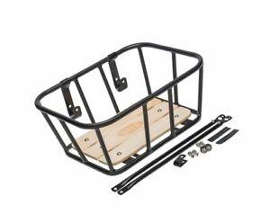 Bell Tote 900 Metal Front Handlebar Basket with Real Wood Base, Black