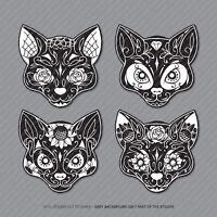 4 x Mexican Sugar Skull Cat Flower Vinyl Stickers Decals Car Van Laptop - 2933