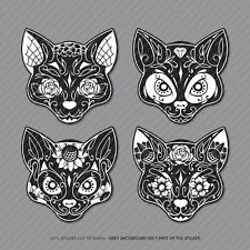 4 x Mexican Sugar Skull Cat Flower Vinyl Stickers Decals Car Van Laptop - 2933