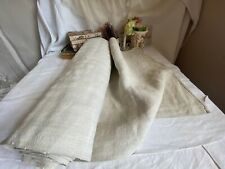 More details for antique linen fabric, rustic table runner & towels flax furnishings textile. 1m
