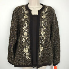 NEW Cathy Daniels Womens Brown Layered Sweater Pullover Embroidered Floral M