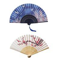 Hand Seiden Falten Fächer mit Bambus Rahmen, Kirschblüten und Schmetterling G8V7