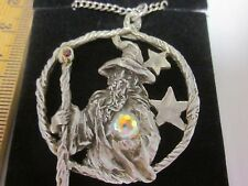 "Gallo Wizard Crystal Star Circle Pendant 22"" Chain Necklace Pewter Rhinestone"