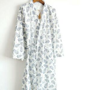 Mens Bathrobe Night Robe Sleepwear Kimono Floral Print Gown Yukata Pajamas Loose